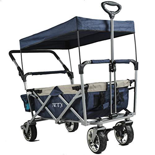 IMLEX Bollerwagen mit Schiebe und Zieh Funktion IMLEX-4265 Mitternachtblau faltbar Handwagen Strandwagen mit Dach und Feststellbremse …