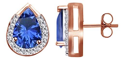 Orecchini a perno in argento Sterling 925 con zaffiro blu e topazio bianco, per donne e ragazze in argento Sterling 925 (0,77 ct) e Argento placcato oro rosa 18 ct, colore: rosa, cod. UK-I-CSE2969-RG