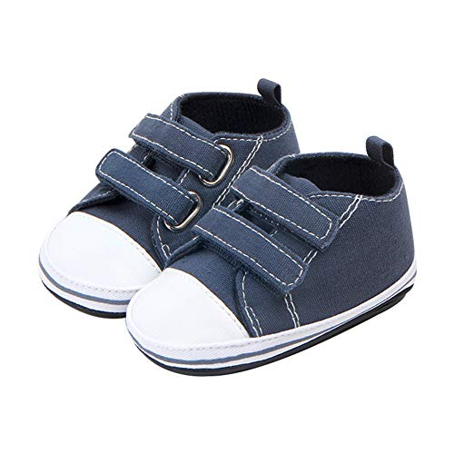 KTENME (3 Misure a Doppia Fila di Velcro, in Tela, Antiscivolo, per Bambini da 0 a 5 Anni, con Suola in Gomma, Colore Blu, Tela, Blue-d, 10.5-11CM
