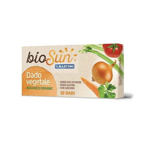 BIOSUN - Brodo Vegetale in Dado, Preparato per Brodo Vegetale Biologico, 10 dadi da 10g, con Diverse Verdure e Curcuma, Senza Glutine, Senza Olio di Palma, Made in Italy