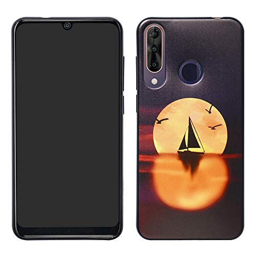 HHDY Wiko View 3 Pro Hülle, Painted Muster Weich Superdünne TPU Silikon Handyhülle Hülle Cover für Wiko View 3 Pro,Sailboats und Moon