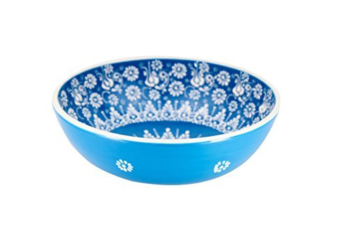 Handmade Ceramic Salad, Serving and Mixing Bowl with flowers - 12 different colors and patterns - 10 inch - great serving Bowls for Fruit, Salad, rice (Greek Blue)
