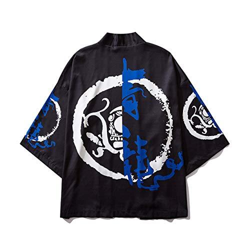 DOVWOER - Kimono de verano para mujer, cárdigan para la playa o para bikini, con mangas de 3/4, informal, chaqueta ligera Estilo 70. Tallaúnica
