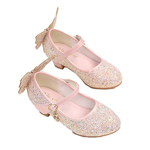 Zapatos de Princesa para niñas Tacones Altos con Lazo de Cristal para...