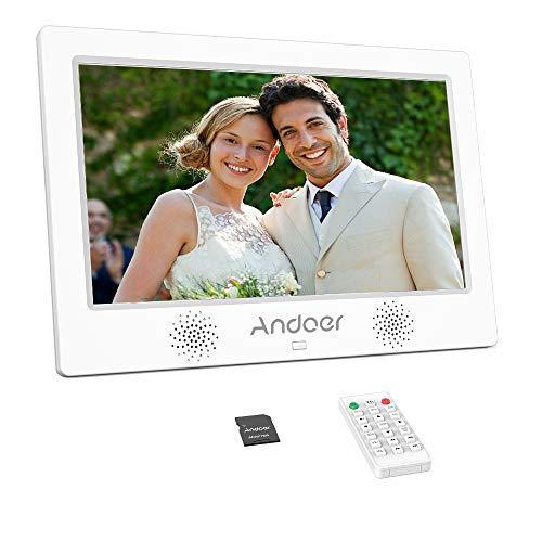 Andoer Marcos Digitales 10.1 pulgadas HD TFT-LCD(1024 * 600) Pantalla con Tarjeta de Memoria de 8GB Marco de Fotos Calendario Reloj Despertador Música MP3 MP4 Película Reproductor de Películas(Blanco)