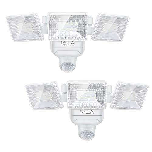 【2-Stücke】SOLLA Außenleuchten Mit Sensor, 800-lumen 30-LED Batteriebetrieben, 5000K Wandleuchte Strahler, Drahtlose Sicherheit Bewegungsmelder Licht, IP65 Sicherheitslicht im Für Innen- und