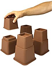 Design61 Meubelverhoger in hoogte verstelbaar (3 verschillende hoogtes) Better verhoging meubelverhoging tafelverhoger olifantenvoet bed riser 8 st. (4 hoog + 4 kort) voor voeten tot 68x68 mm in bruin
