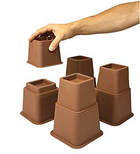 Design61 Möbelerhöher höhenverstellbar (3 Verschiedene Höhen) Betterhöhung Möbelerhöhung Tischerhöher Elefantenfuß Bed Riser 8St. (4 Hohe + 4 Kurze) für Füße bis 68x68 mm in Braun