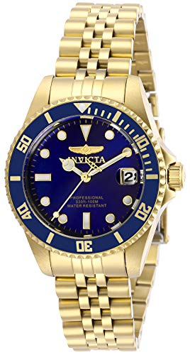 Invicta Women's Pro Diver Quartz Watch with Stainless Steel Strap, Gold, 16 (Model: 29191)