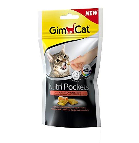 GimCat Nutri Pockets Lachs und Omega 3 und 6 - Knuspriger Katzensnack mit cremiger Füllung und funktionalen Inhaltsstoffen - 1 Beutel (1 x 60 g)