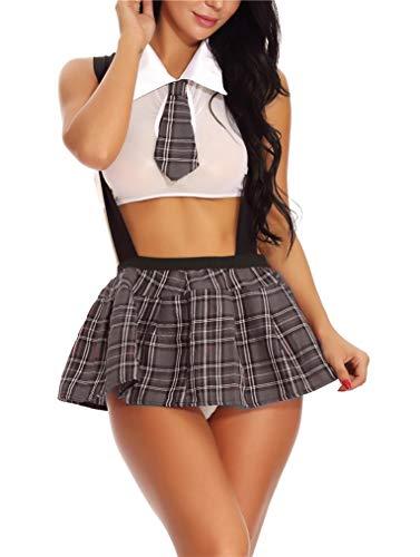 Seazoon Sexy Dessous für Frauen, Schulmädchen-Outfit, Dessous mit Krawatte, süßes Karo-Minirock Set Geschenk für Sie - - Large