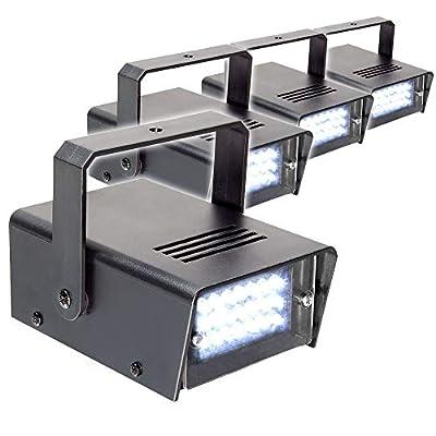 beamz 4x Strobes 24 LED Mini Portable Adjustable Lighting DJ Disco Rave Party