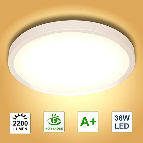 36W LED Deckenleuchte, bapro Deckenlampe Bad 2200LM 3000K Warmweiß Mordern Badezimmerlampe für Badezimmer Küche Wohnzimmer Balkon Flur Schlafzimmer Büro[Energieklasse A+]