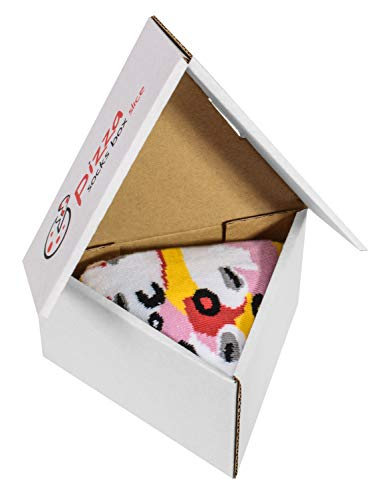 Pizza Socks Box Slice - Capricciosa - Damen Herren Pizza Socken 1 Paar - Größen 41-46