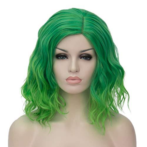 ATAYOU® Kurze Lockige Ombre Synthetische Cosplay Bob Perücken Für Frauen Kostüm Mit 1 Frei Wig Cap (Grün bis Hellgrün)