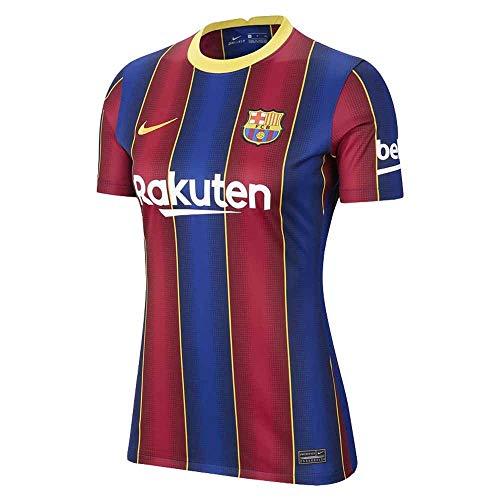 NIKE FC Barcelona Temporada 2020/21-FCB W NK BRT STAD JSY SS HMCD4401-456 Camiseta Primera Equipación, Mujer, Deep Royal Blue/Varsity Maize Full Sponsor, XL