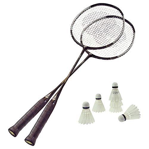 Badminton Set 2 Schläger 6 Bälle, Badmintonschläger, Federball, Badmintonball