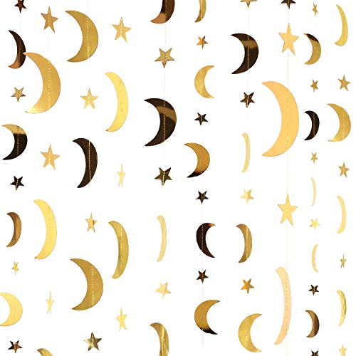 130 Feet Gold Glitter Star Moon Paper Garland Banner Hanging Decoration for Graduation Class of 2020 Congrats Grad Wedding Birthday Festival Party Decoration