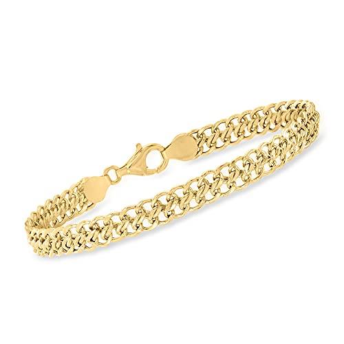 Ross-Simons Italian 18kt Yellow Gold Flat-Link Chain Bracelet. 7.5 inches