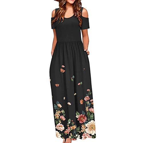 Qigxihkh Kalte Schultertasche für Damenmit Blumenmuster Elegantes Maxi-Kurzarm-Freizeitkleid