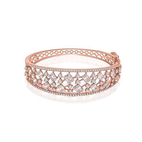 OMEGA JEWELLERY Pulsera con Brazalete de racimo de Diamantes en Forma de Baguette y Plata chapada en Oro de 14 Quilates con certificación IGI (3,44 CT) (Plata chapada en Oro Rosa)
