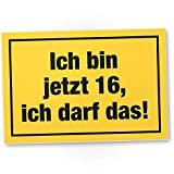 DankeDir! 16 ich darf das - Kunststoff Schild 30 x 20 cm - Geburtstagsdeko Partydeko Geburtstagskarte Geschenkidee - 16. Geburtstag 16er Jungen & Mädchen Geschenk 16 Jahre Geburtstagsgeschenk