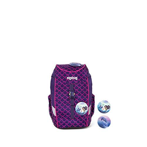 Ergobag Mini PerlentauchBär, Lumi Edition, ergonomischer Kinderrucksack, Kindergarten Vorschule, DIN A4, 10 Liter, 500 g, Pinke Wellen