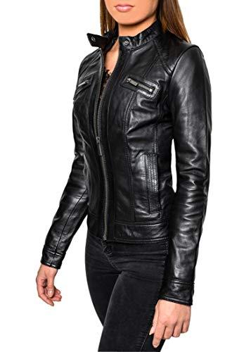 Crone Juna Damen Lederjacke Cleane Leichte Basic Rindsleder Jacke aus weichem Echtleder (M, Schwarz mit Brusttaschen (Rindsleder))