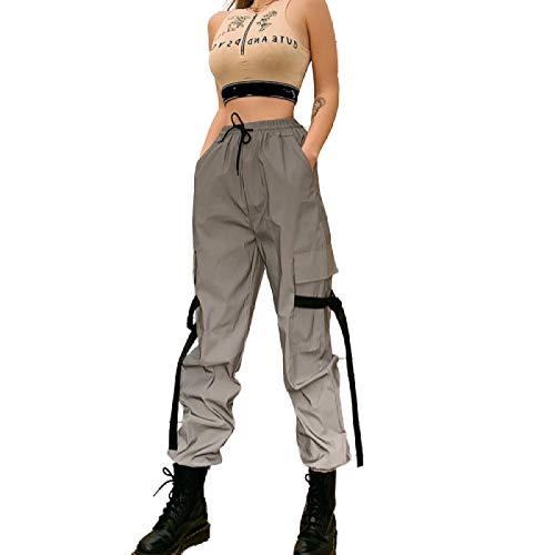 Pantalones de harén de Basculador Holgados de Color sólido para Mujer Moda de Primavera y Verano Pantalones Reflectantes con Cordones de Cintura Alta Pantalones Casuales 3X-Large