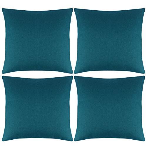 Aneco - Juego de 4 fundas de almohada para exteriores, impermeables, decorativas, fundas de cojín de jardín, cuadradas, para patio, sofá, tienda, balcón y sofá, 18 x 18 pulgadas, color azul y verde