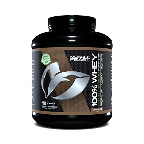 Muscle Feast 100% Whey Protein Powder, Grass Fed & Hormone Free, Blend of Concentrate, Isolate, and Hydrolyzed Whey Protein (5lb, Chocolate)