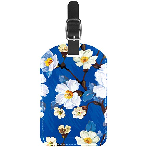White Flower Painting Travel Leather Luggage Tags Personalised for Suitcases Funny Mini Baggage tag Business Card Holder/Travel Bag Tag 2.8x4.5in