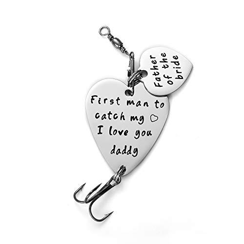 Melix Home - Señuelos de pesca para padre de la novia, regalo para padre de la novia, regalo de boda (primer hombre para atrapar mi corazón, te amo papá)