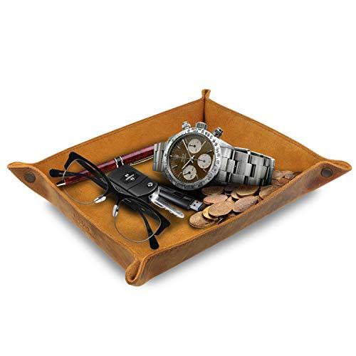 Londo - Organizador de bandejas de piel auténtica, práctica caja de almacenamiento para carteras, relojes, llaves, monedas, teléfonos celulares y equipos de oficina