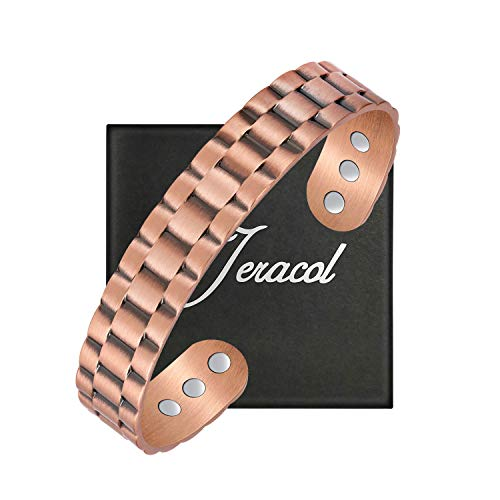 Jeracol Copper Bracelets Men Copper Magnetic Bracelets for Arthritis Pain Relief Magnetic Therapy Bracelet with 6 Powerful Magnets Bangle Magnetic Healing Health Gifts to Families Friends