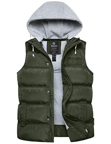 Wantdo Men's Quilted Cotton Puffer Vest Sleeveless Hooded Winter Jacket Navy S