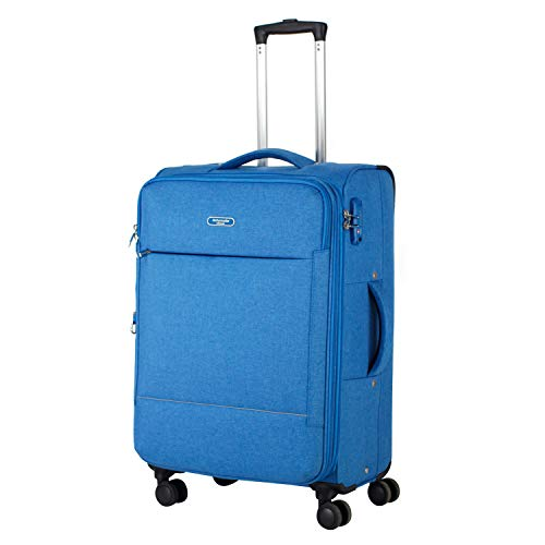 Ambassador Luggage Super Lightweight carry on Soft side luggage with spinner wheels ultra light suitcase Anti-theft zipper Blue