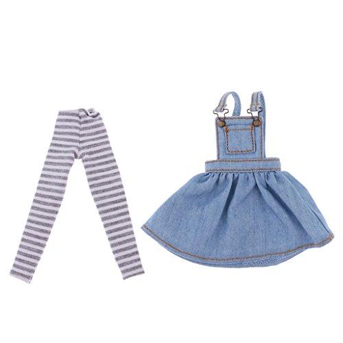1/6 Linda Falda de Liga Ocasional y Leggings a Rayas para 12 Pulgadas Blythe Muñecas Doll Accessorios