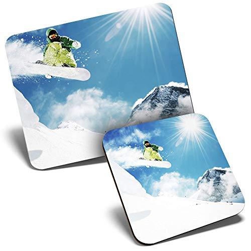 Juego de alfombrilla de ratón y posavasos – Snowboarder Jump Mountains Snow 23,5 x 19,6 cm y 9 x 9 cm para ordenador y portátil, oficina, regalo, base antideslizante #15704