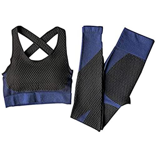 UYIDE Mujeres Sujetador sin Costuras Traje de Yoga Traje Deportivo Ropa de Entrenamiento Conjunto Pantalones para Deportes,Azul,L