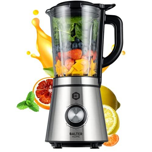Balter MX-3 Premium Standmixer | 1.000W | 1.5L Glasbehälter | Smoothie Maker | BPA-freier Blender für Shakes, Smoothies, Eis, Küchen | Standmixer Edelstahl | spülmaschinenfest