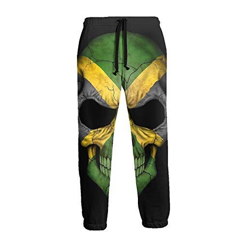 Jamaikanische Flagge Totenkopf Jamaika Kopf Herren Unisex Sweatpants mit Taschen Jugend Training Jogger Hose Sporthose Gr. 36-41, weiß