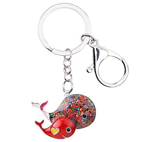 LZHLMCL Women Keyrings Keychains Enamel Alloy Whale Key Chain Keychains Ring Handbag Bag Ocean Animal Jewelry For Women Girls Gift Red
