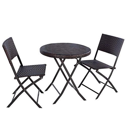 FTFTO Living Decoration 3PC Klappbarer runder Tisch & Stuhl Bistro Set Rattan Wicker Garden Set Gartenmöbel