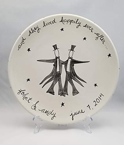 Custom Ceramic Wedding Platter for two Grooms