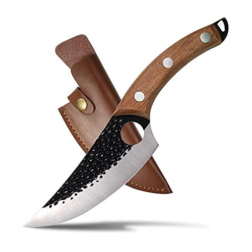 Scharf Japanisches Messer 15.5cm,Huusk Carbonstahl Wikinger Messer Fleischmesser mit Holzgrif,Full Tang Kochmesser Profi küchenmesser mit Loch,für Outdoor KüChe Grill Sushi,Damast Stil
