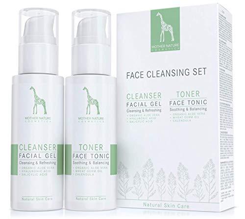Set de Limpieza Facial con Aloe Vera BIO y Ácido Hialurónico - VEGAN - 125 ml de Gel Limpiador Facial y 125 ml de Tónico Facial para Piel Normal, Grasa, Mixta e Impura - Cuidado Facial Natural