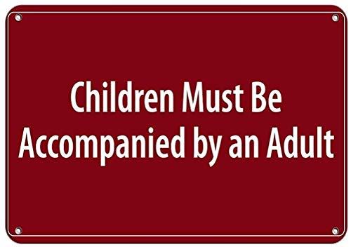 "DKISEE Blechschild aus Aluminium mit Aufschrift ""Children Must Be Accompanied by an Adult Pool"", 25,4 x 35,6 cm"