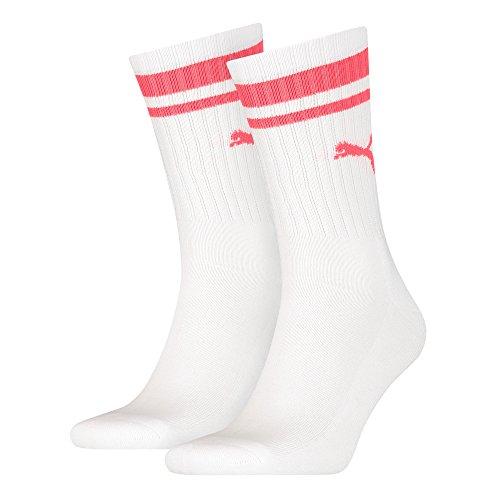 PUMA Herren CREW HERITAGE STRIPE 2P UNISEX Socken, white/pink, 39-42