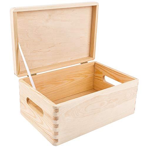 Creative Deco Große Holz-Kiste mit Deckel Holzbox Erinnerungsbox | 30 x 20 x 14 cm (+/- 1 cm) | GOLDSCHARNIERE & SICHERHEITSBAND | mit Griffen | Spielzeug-Kiste Unlackiert | Für Dokumente, Werkzeuge